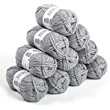 Bergère de France - BARISIENNE 7 lot 10 pelotes de laine à tricoter et crochet (10 x 50g) 6,5 mm - 100% Acrylique - Fabrication Française - Gros Fil Rond, très Doux - Gris (MENHIR)