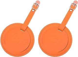 BESPORTBLE Etiqueta para Bolsa de Viagem, 2 peças de couro PU Redondo para Bagagem, Etiquetas para Identificação e Identif...