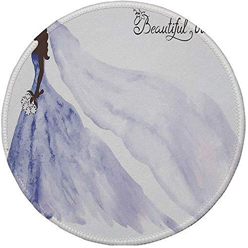 Rubber Gaming Mouse Pad,rutschfeste runde Mousepad,Brautdusche Dekorationen,abstrakte schöne Braut Brautkleid mit Blumen,lila blau und weiß 20CM