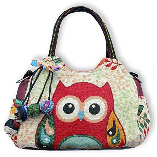 Wilai Eule Eulen Tasche Handtasche Henkeltasche ***EULE*** Shoppertasche Schultertasche Eulenmotiv Umhängetasche - verschiedene Motive erhältlich - VINTAGE LOOK/absolut cool und stylish (42239)