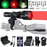 VASTFIRE Predator Light with Interchangeable (Red, Green, White) LED Hunting Flashlight with Scope...