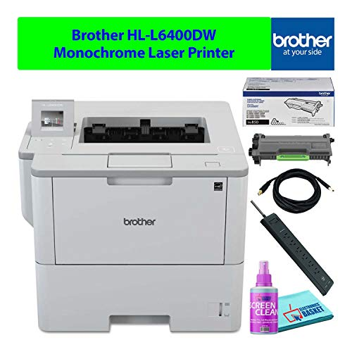 Brother HL-L6400DW Compact Wireless Monochrome Laser Printer with Auto-Duplex Best-Value Bundle - Includes - Essential Cleaning Kit + Extra Toner