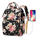 Laptop Backpack,15.6 Inch Stylish College School Backpack with USB Charging Port,Water Resistant Casual Daypack Laptop Backpack for Women/Girls/Business/Travel (Flower Pattern)
