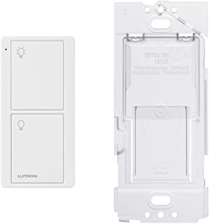 Lutron On/Off Switching Pico Remote for Caseta Smart Home Switch with Wallplate Bracket | PJ2-2B-GWH-L01 | White