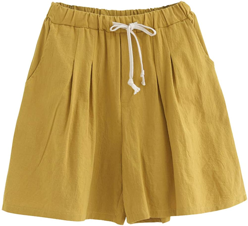 free Finally popular brand shipping Ladyful Women's Summer Wide Leg Knee Shorts Cotton Length Linen