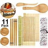 11 Pièces Kit de Fabrication de Sushi, Inclure Tapis de Bambou Sushi, Baguettes, Pagaie de Riz, Épandeur à Riz, Plats à Sauce et Sac en Coton pour Fournitures d'Outils de Sushi de Débutants