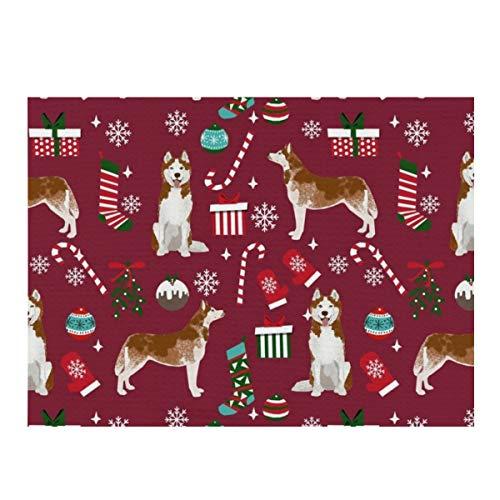 Alfombrilla de secado de platos, Husky Candy Bases Medias para perros de vacaciones de Rubí absorbente de microfibra reversible, protector de almohadilla seca para encimera de cocina 30,5 x 40,6 cm