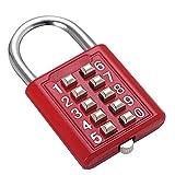Combinazione di pulsanti Lucchetto di sicurezza Serratura digitale Cassetto porta del cassetto Portautensili fai da te Cassetta degli attrezzi a 10 bit, Meccanismo a 5 posizioni Chiave cieca rossa