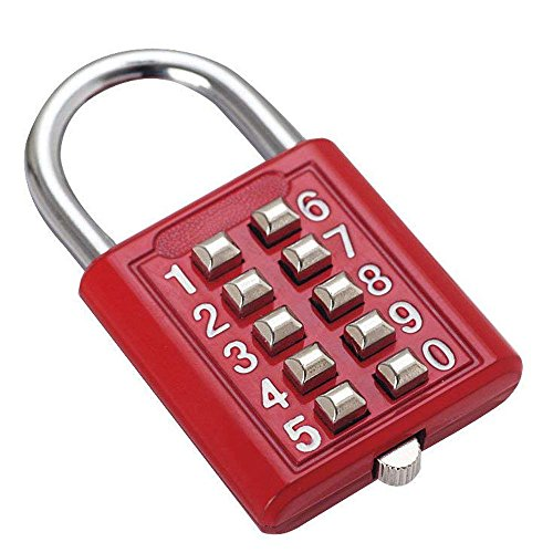 Schlüsselkombination Sicherheitsschloss digitale Schloss Box Gepäck Schublade Tür DIY-Toolbox 10-Bit-Vorhängeschloss, 5-Gang-Verriegelung roten Schlüssel Jalousie ältere feste Fitness-Toolbox