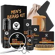MayBeau Beard Kit for Men Beard Care 9 in 1 Beard Grooming Kit with W/Beard Wash/Shampoo, Unscented Beard Growth Oil,Beard Balm,Shape Tool, Beard Brush, Beard Comb, Sharp Scissors, Best Perfect Gift