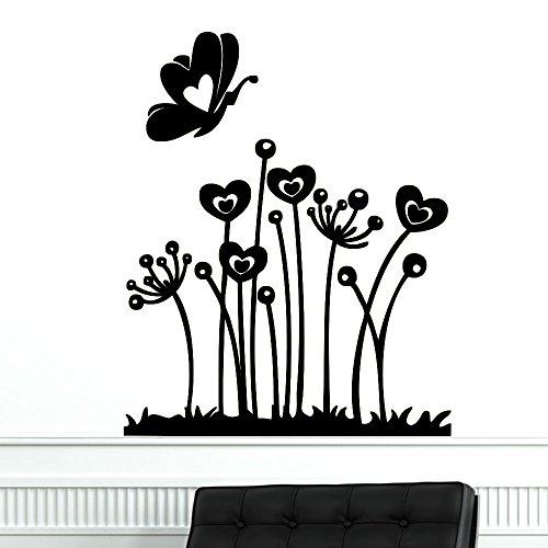 sanzangtang Woonkamer muur sticker vlinder en bloem muur sticker slaapkamer romantische decal meisje vinyl zelfklevende woondecoratie
