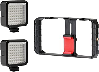 F Fityle U-Rig Pro Smartphone Video Rig W 3 Shoe Mounts Filmmaking Case + 2 LED Light