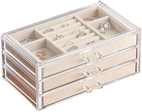 Recet Joyero para joyero de mujer con 3 cajones, anillo y cajón para pendientes (crema transparente)