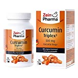 ZeinPharma Curcumin 500 mg 90 Cápsulas (envase mensual) sin gluten, vegano, koscher & halal fabricado en Alemania, 59 g
