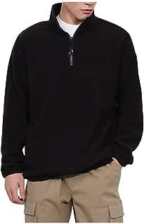 eipogp Sherpa Quater Zip Hoodie for Men, Mock Neck Heavyweight Hooded Casual Warmly Sweatshirt Solid Ribbed Cuffs Hem Fleece