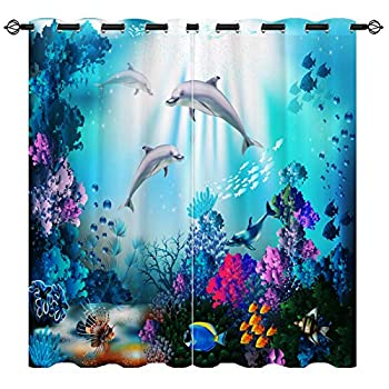 Dolphin Curtains,Colorful Underwater World Coral Dolphin 3D Pattern Ocean Curtains 2 Panels Set for Bedroom Livingroom Kids Room Thermal Blackout Curtains W27.5 xL39 Dark Blue