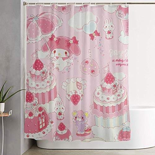 RGFK My Melody Pink Shower Curtain Water Repellent Curtain Liners with 12 Hooks Bathroom Machine Washable 59 x 70 inche