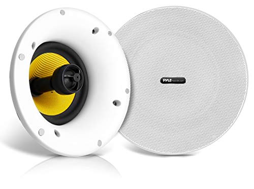 """WiFi Bluetooth Ceiling Mount Speakers - 8"""" in-Wall/in-Ceiling Dual Active & Passive Speaker System (2) Flush Mount w/ Powerful 300 Watts Remote Control & MUZO Player Compatible - Pyle PDICWIFIB82"""