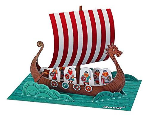 POWERHAUS24 Wikingerschiff, Bastelvorlage, Papier Spiele-Set zum Basteln & Spielen
