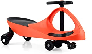 Colibr¨ª Wiggle Car Swing Ride On Indoor Outdoor Safe Playing Swivel Toy, Ages 3 yrs and Up, No Batteries, Gears, or Pedals, Wiggle for Endless Fun (Orange)