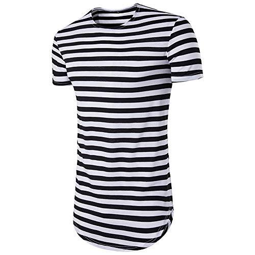 Tops Hombre Verano Rayas Slim Fit Moderno Hombre Camisa Deportiva Cuello Redondo Manga Corta Funcional Shirt Básica Elástica Correr Shirt Casual Transpirable Hombre T-Shirt D-Black M