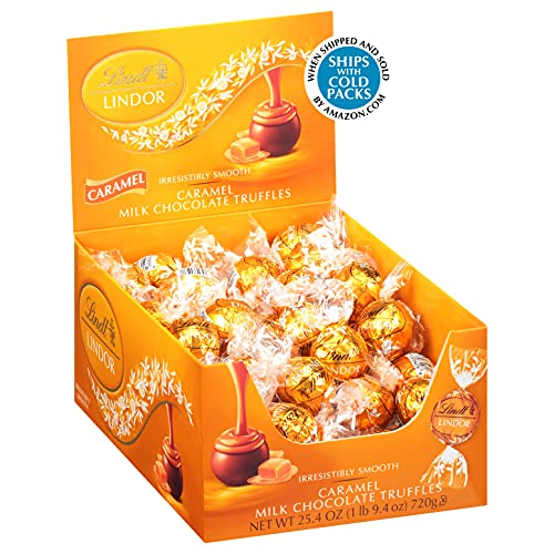 Lindt LINDOR Caramel Milk Chocolate Truffles, Milk Chocolate Candy with Smooth, Melting Truffle Center, 25.4 oz., 60 Count