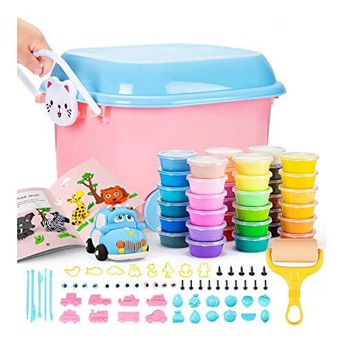 Air Dry Clay Kit 36 Colors Modeling Clay for Kids Light Soft Magic Clay with Sculpting Clay Tools, Accessories and Tutorial Book for Kids DIY. Reusable Storage Box with Wheels (Cat)