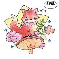 Kapmore タトゥーシール 可愛い 漫画 蝴蝶 桜 鹿 動物 顔 腕 防水 デコレーション 6枚セット 全9タイプ (04)
