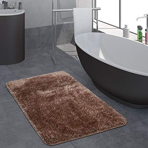 Paco Home Moderner Hochflor Badezimmer Teppich Einfarbig Badematte rutschfest In Braun, Grösse:60x100 cm