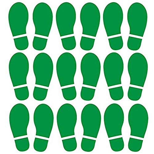 Finduat 20 Pairs 40 Prints Green Kids Size Shoes Footprint Stickers Decals, Floor Wall Stairs to Guide Directions for School, Dance Studio, Floor Stickers Party Decoration