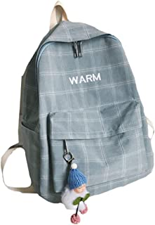 Teens Simple and Fresh Plaid School Bag, Large Capacity Light Breathable Schoolbag, Boy Girl Studente Reduce Burden Cotton Backpack,Blue