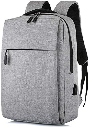 Laptop Backpack, with USB Charging Port 15.6 Inch Computer Business Backpacks for Women Men College School Student Gift,Bookbag Casual Hiking Daypack (Gray)