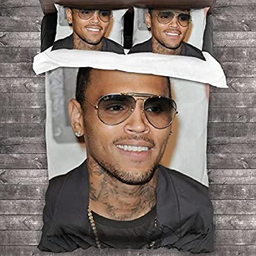 Hombre con Gafas de Sol Ropa de Cama de 3 Piezas con 1 Funda de edredón y 2 Fundas de Almohada con Funda de edredón con Cremallera para Dormitorio