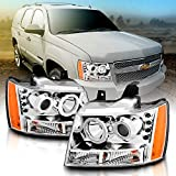 AmeriLite Chrome Projector Replacement Headlights LED Dual Halo for Chevy Tahoe/Suburban/Avalanche - Passenger and Driver Side