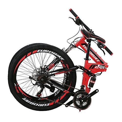 EUROBIKE EURG4 Mountain Bike 21 Speed 26 Inches Dual Suspension Folding Bike Dual Disc Brake MTB Bicycle Red