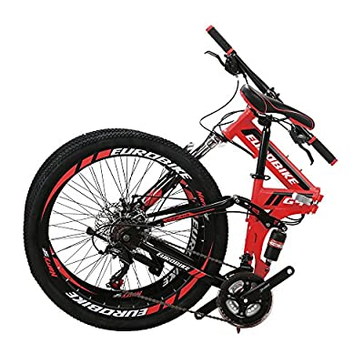 EUROBIKE EURG4 Mountain Bike 21 Speed 26 Inches Dual Suspension Folding Bike Dual Disc Brake MTB Bicycle Red