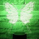 AOXULIU Luz de noche Luz De Noche Led 3D Con Patrón De Mariposa, Luz De 7 Colores Para La Decoración Del Hogar, Lámpara De Ilusión Óptica Base Negra