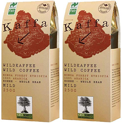Original Food Kaffa Wild-Kaffee mild ganze Bohne 2er-Pack (2x 250g) bio vegan fair Arabica MildBohx2