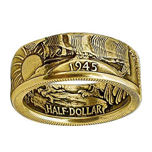Yialatoe anillos para hombres moda para hombre bandas de joyería anillo de fiesta anillo de moneda de personalidad regalo de joyería del día de san valentín