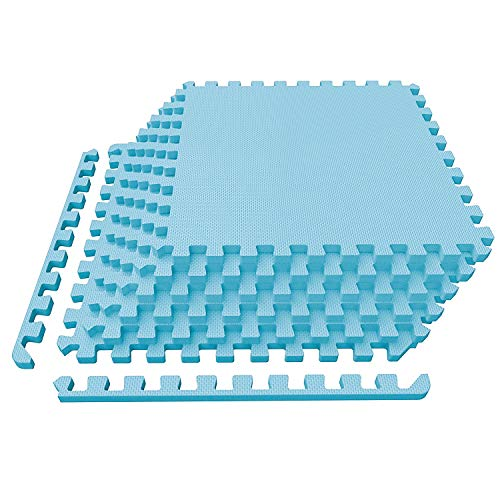 LEVOIT Puzzle Exercise Mat, Premium EVA Foam Interlocking Tiles, Protective Flooring for Gym Equipment and Cushions for Workouts, 24 SQ FT (6 Tiles, 12 Borders) (Blue)