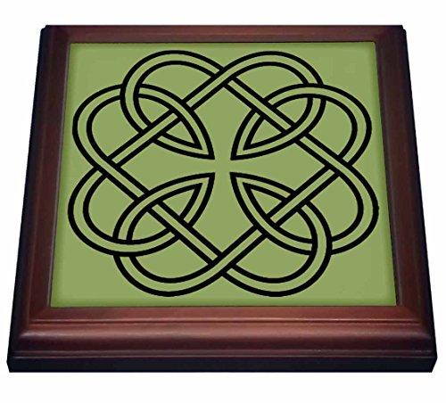 3dRose Black Celtic Design on a Moss Green Background Trivet with Ceramic Tile, 8 by 8', Brown