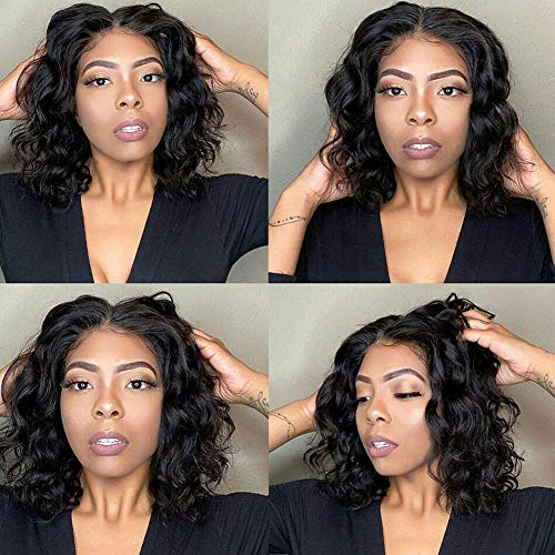 Short Wavy Bob Wig Human Hair, UDU Short Wavy Human Hair Wigs with Lace Part Brazilian Loose Wave Wig Glueless Middle Part Wigs for Black Women 150% Density