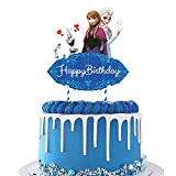 Frozen Cake Toppers Frozen Cake Decorations 2 Side Party Supplies, Frozen Happy Birthday Party Supplies Ice Princess Cake Decorations for Frozen fans, Kids Birthday Party