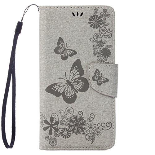 Custodia per iPhone for iPhone 8 e 7 pressati Modello di Fiori di Farfalla di Caso di Cuoio di Vibrazione Orizzontale con Il Supporto e Slot for schede e Portafoglio (Color : Grey)