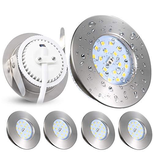 Focos Empotrables LED Kambo, 5W IP44 Para Baño Ultrafino Blanco Neutro 4500K 500LM Ø60-75mm 230V Juego de 4 Para el Baño Sala de Estar Cocina Pasillo Galería Oficina