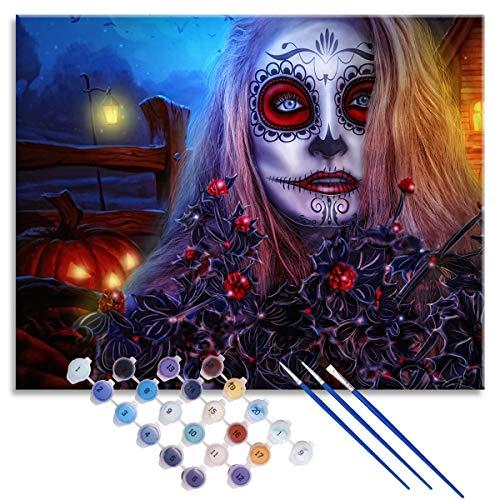 Kit de principiante para principiantes para pintura digital de bricolaje para adultos, disfraz de Halloween para mujer, lienzo impreso, decoracin del hogar, 50x40cm enmarcado