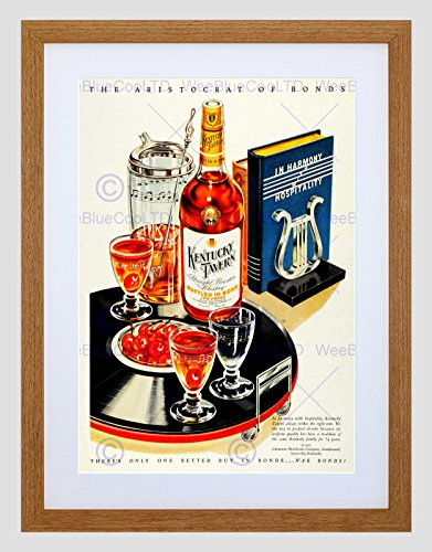 Wee Blue Coo Ad Alcohol Whiskey Glenmore distilleerderijen Cherry Record Muzikale Omlijst Muur Art Print