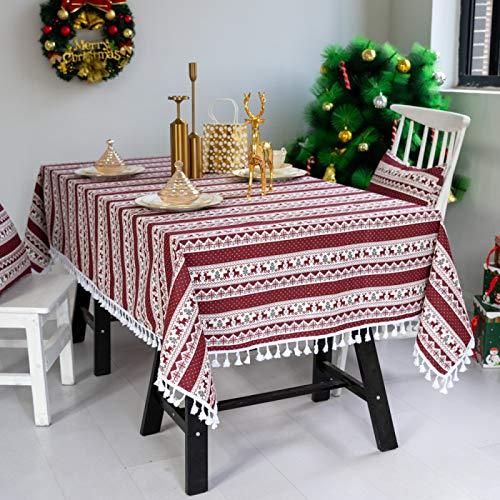 Csuper Mantel Navideño Fiesta De Cervatillo Mantel De Algodón Y Lino Mantel con Borlas Mantel A Prueba De Aceite Y Lavable Hermoso Y Moderno Adecuado para Fiesta De Picnic