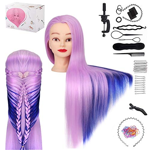 65cm Testa per Parrucchieri TwoWin Testa di Addestramento Cosmetologia Manichino Manichino Bambole Hair Styling con supporto(Viola Chiaro + Blu Navy)…