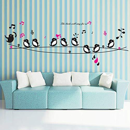 MMLFY Muursticker Draad vogel zang notities raam glas woonkamer slaapkamer decoratieve muur stickers afneembare sticker decoratie